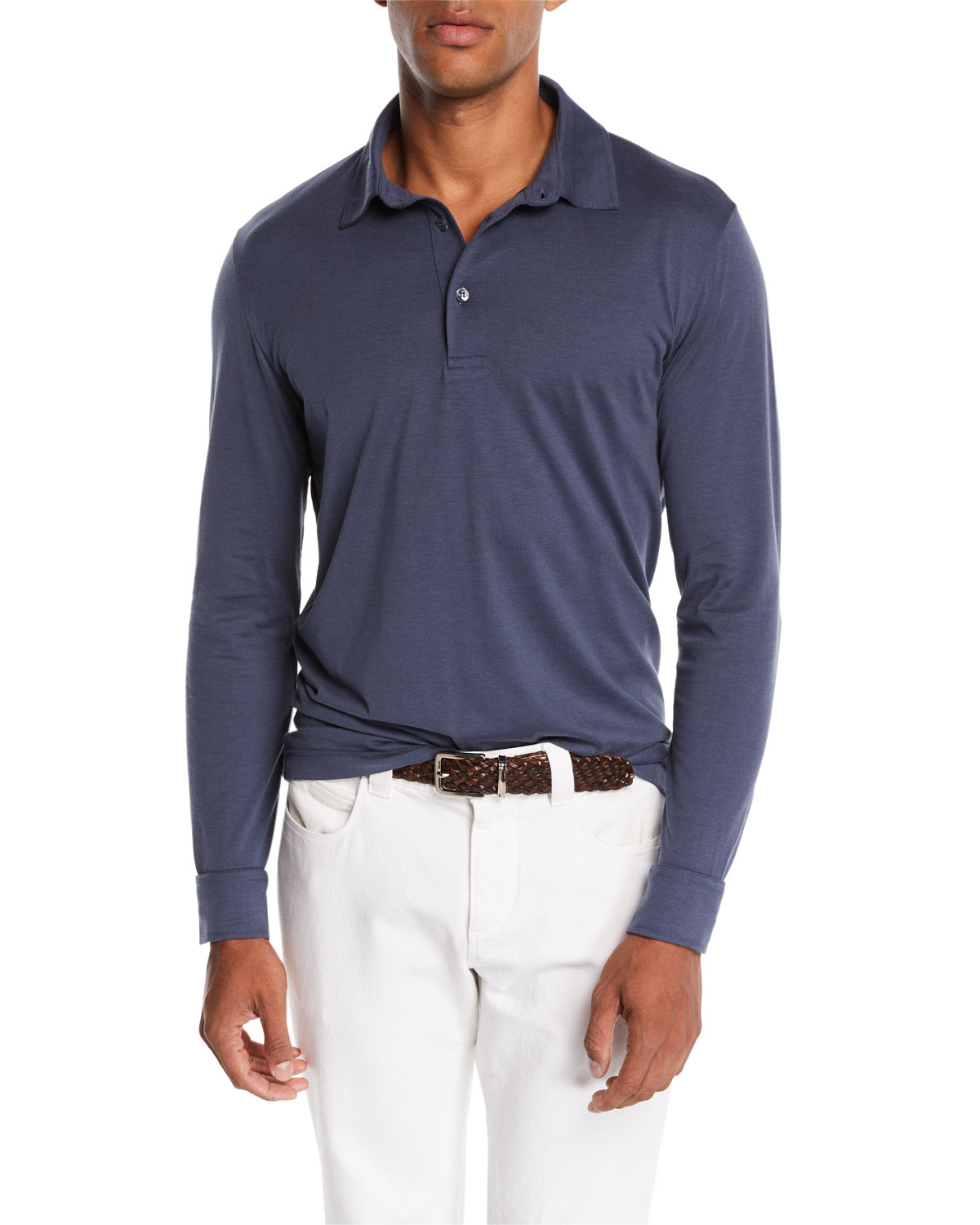 8e1d1251c Loro Piana Men's Cose Long-Sleeve Jersey Polo Shirt | Neiman Marcus