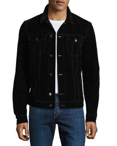 Men's Flocked Stretch-Denim Jacket
