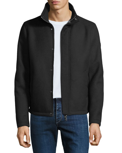 Men's Broadcloth Blouson Coat with Faux-Fur Lining