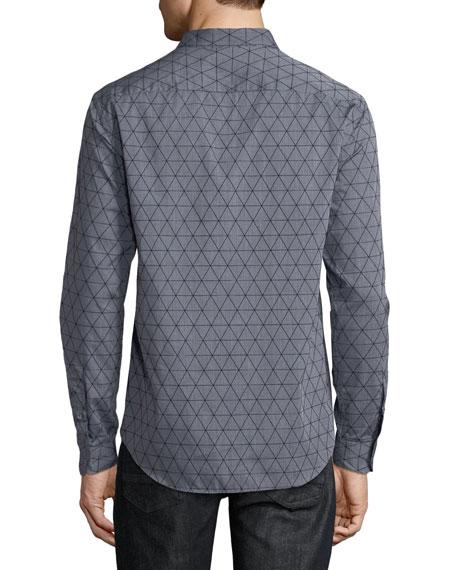 Men's Geometric-Flocked Button-Front Long-Sleeve Cotton Woven Shirt