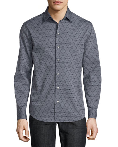 Men's Geometric-Flocked Button-Front Long-Sleeve Cotton Woven Shirt