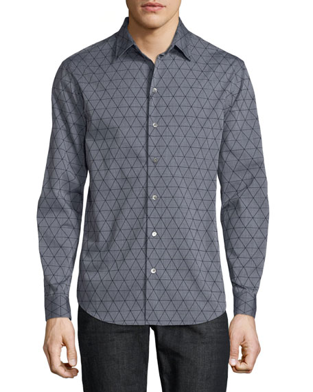 Emporio Armani Men's Geometric-Flocked Button-Front Long-Sleeve