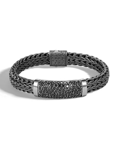 Men's Classic Chain Flat Sterling Silver Bracelet with Black Rhodium & Sapphires