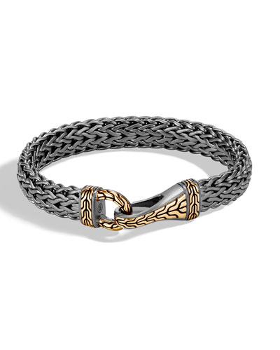 Men's Classic Chain Silver Hook Bracelet with Black Rhodium & 18k Gold