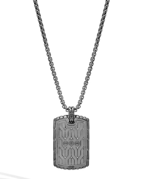 Image 3 of 3: John Hardy Men's Classic Chain Dog Tag Necklace with Rhodium & 18k Gold, 26""