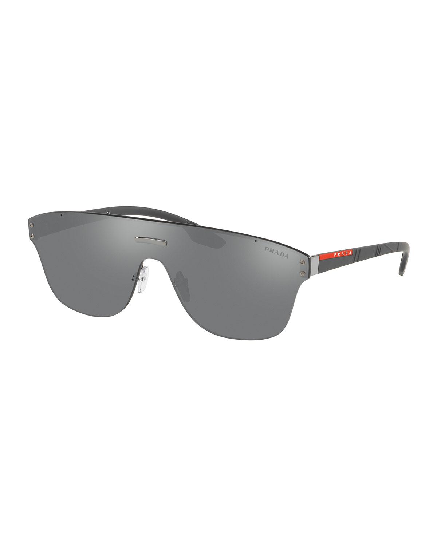 0fa46c2495 Prada Men s PS57TS Rimless Shield Sunglasses