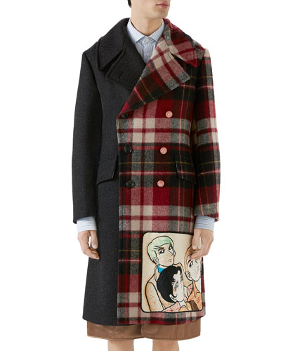 Men's Vintage Double-Breasted Wool Coat