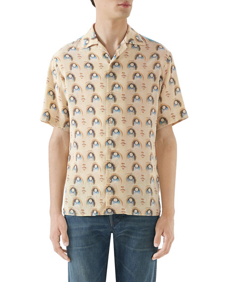Gucci Men's Anime Graphic Short-Sleeve Silk Shirt