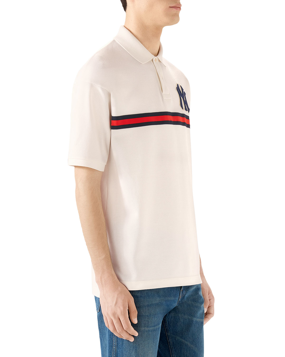 00fd2c9cd Gucci Men's NY Yankees MLB Polo Shirt with Logo Applique | Neiman Marcus