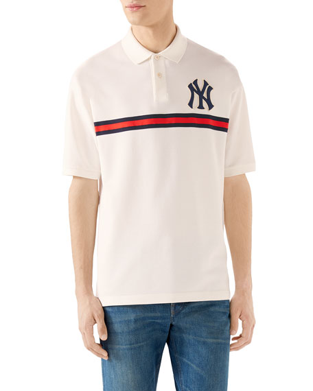 f70d4e9b5 Gucci Men's NY Yankees MLB Polo Shirt with Logo Applique | Neiman Marcus
