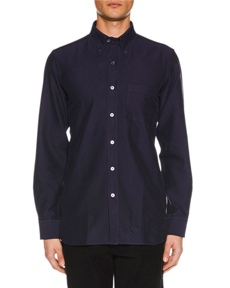 TOM FORD Men's Point-Collar Casual Button-Front Cotton Shirt