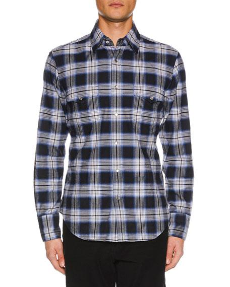 TOM FORD Men's Brushed Tonal Overcheck Western Shirt