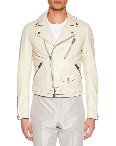 TOM FORD Men's Asymmetric-Zip Leather Biker Jacket