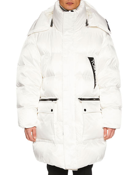 TOM FORD Men's Long Puffer Coat with Contrast Trim