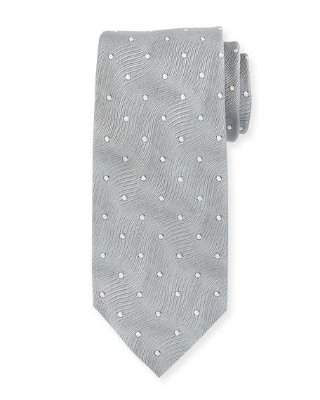 TOM FORD Polka-Dot Wave Silk Tie, Gray