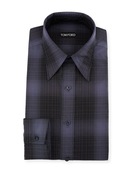 Image 1 of 2: Men's Optical Check Pointed-Collar Dress Shirt