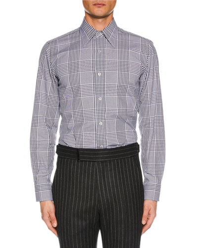Men's Prince of Wales Plaid Dress Shirt