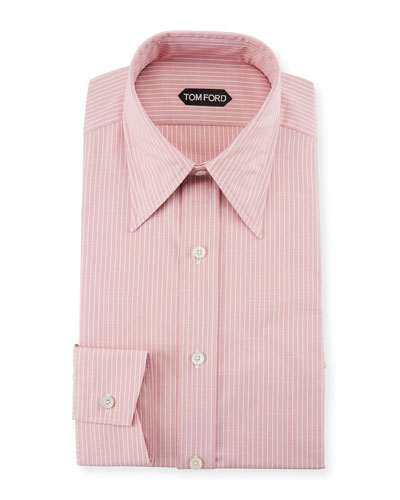 Men's Hopsack Striped Point-Collar Dress Shirt