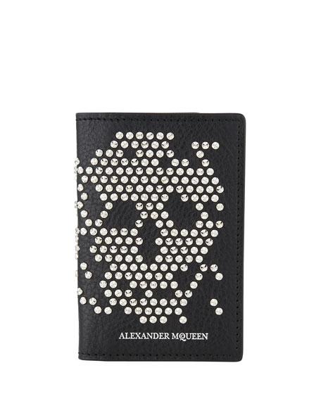 Men's Skull Studded Leather Bi-Fold Wallet