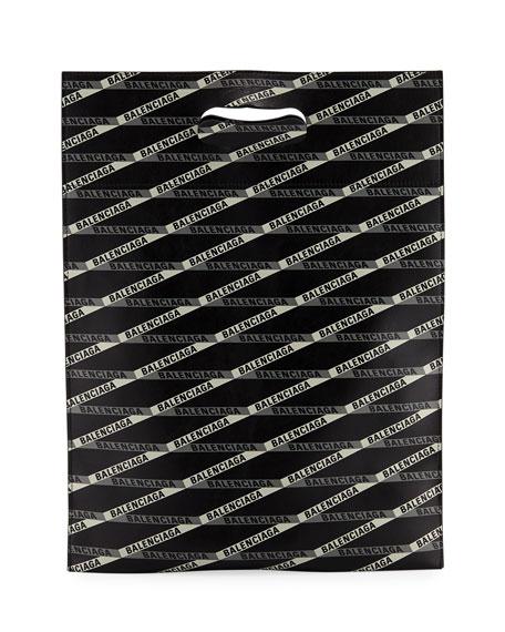 Men'S Graphic Logo Leather Shopper Tote in Black