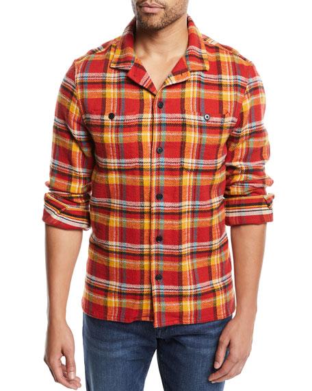 FRAME Men's Button-Front Plaid Flannel Shirt Jacket