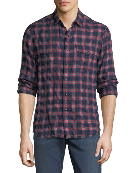 FRAME Men's Sentinel Plaid Western Shirt