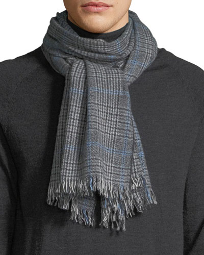 Men's Glen Plaid Cashmere Scarf