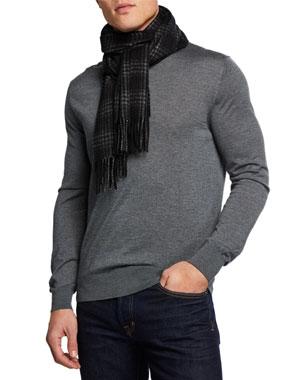 5f884a36834cb Neiman Marcus Men s Cashmere Linear Plaid Scarf