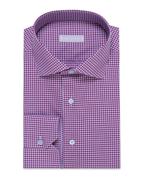 Stefano Ricci Men's Check Barrel-Cuff Dress Shirt, Blue/White