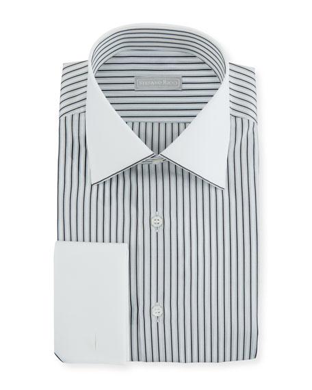Stefano Ricci Men's Striped Dress Shirt with Contrast Trim