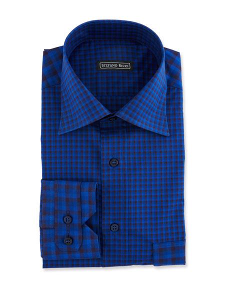 Stefano Ricci Men's Paneled Check Sport Shirt