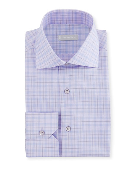 Stefano Ricci Men's Check Spread-Collar Dress Shirt