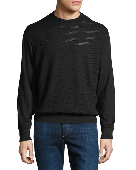Stefano Ricci Men's Crewneck Sweater With Crocodile