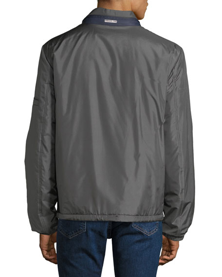 Stefano Ricci Men's Water-Repellent Silk Jacket with Leather Trim