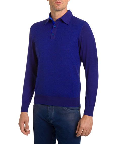 Stefano Ricci Men's Textured Cashmere Polo Sweater