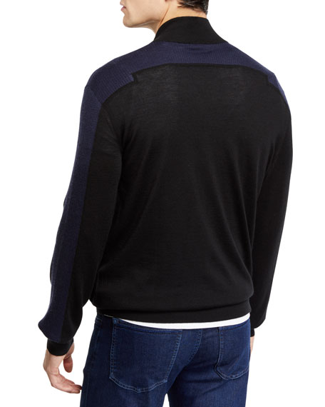 Stefano Ricci Men's Mock-Neck Full Zip Long-Sleeve Sweater