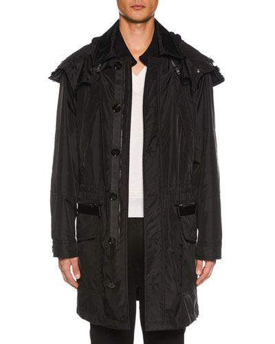 Men's 2-in-1 Parka Coat with Detachable Shearling-Lined Hood