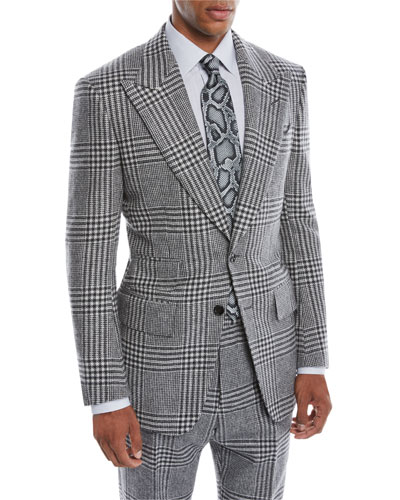 Men's Atticus Peak-Lapel Two-Button Glen Check Jacket