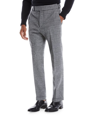 Men's Atticus Plaid Stretch-Tweed Trousers