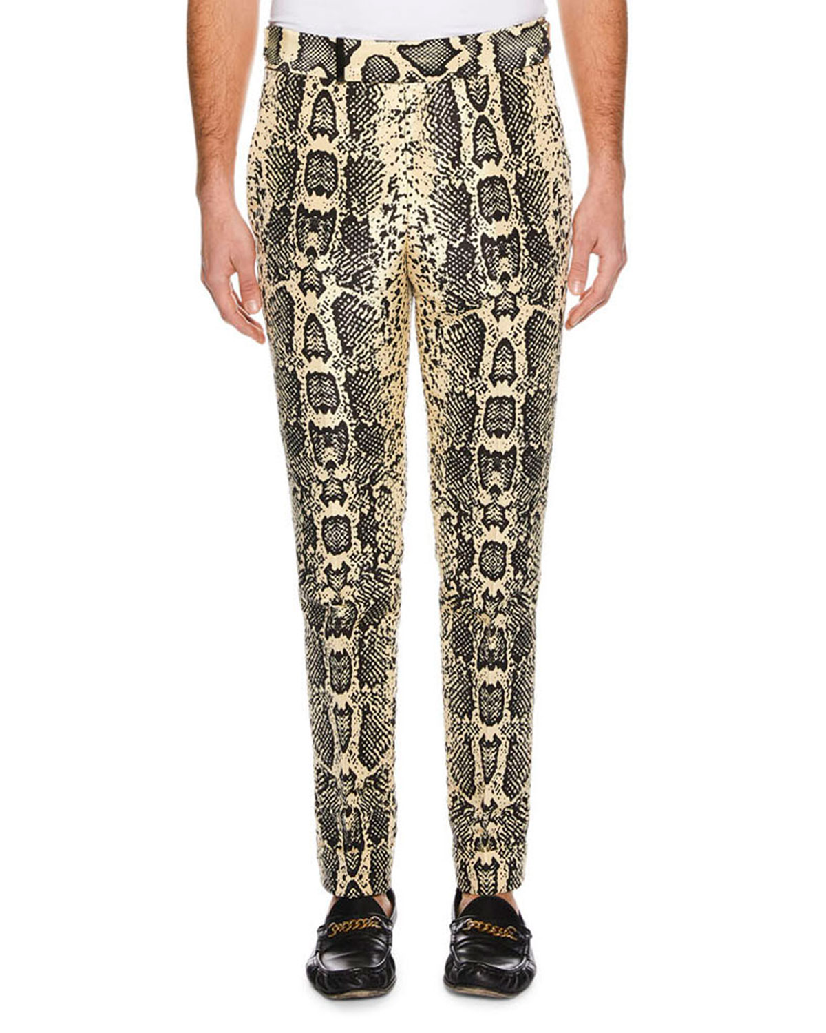 f8cd97a638 Men's Snakeskin-Print Silk Pants