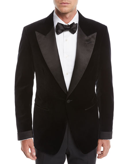 TOM FORD Men's Shelton Shawl-Collar Liquid Velvet Tuxedo Jacket