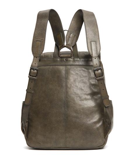 Frye Men's Oliver Leather Buckle Backpack, Olive