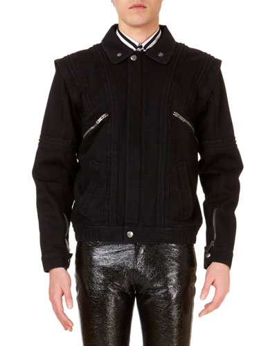 Men's Convertible Jean Jacket with Faux-Shearling Lining