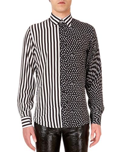 Men's Mixed Media Animal-Print Dress Shirt