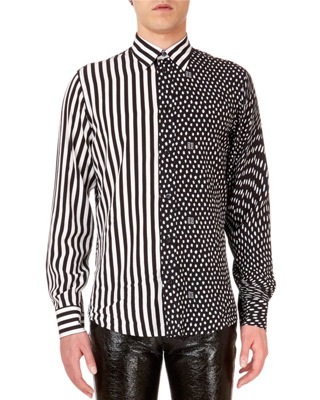 Givenchy Men S Mixed Media Animal Print Dress Shirt