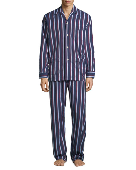 Derek Rose Men's Royal 210 Striped Classic Pajama Set