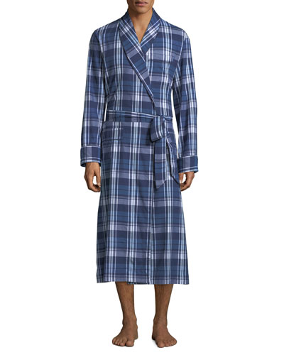 Men's Ranga 31 Long Plaid Cotton Robe