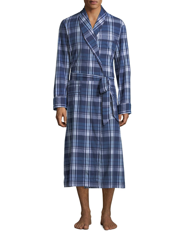 Derek Rose Men's Ranga 31 Long Plaid Cotton Robe