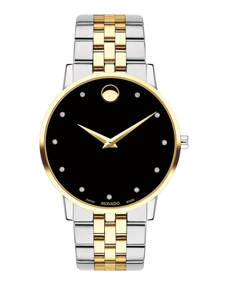Movado Men's 40mm Ultra Slim Watch with 2-Tone Bracelet & Black Museum Dial