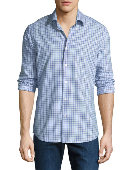Neiman Marcus Men's Tartan Plaid Cotton Sport Shirt